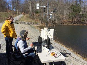 Deployment of sensor gateway cyberinfrastructure at the Falling Creek Reservoir in Roanoke, VA.